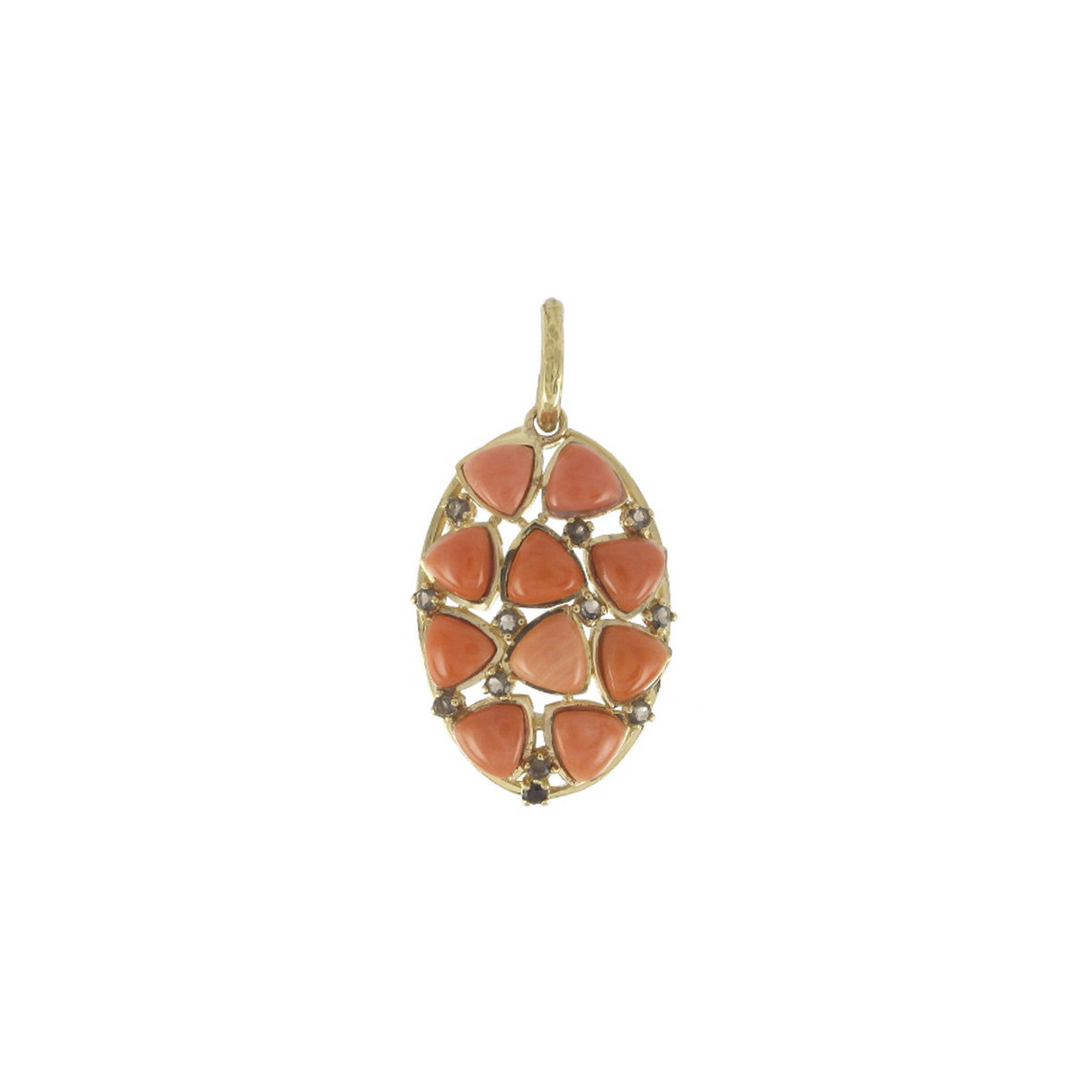GOLD PENDANT WITH CORAL AND QUARTZ