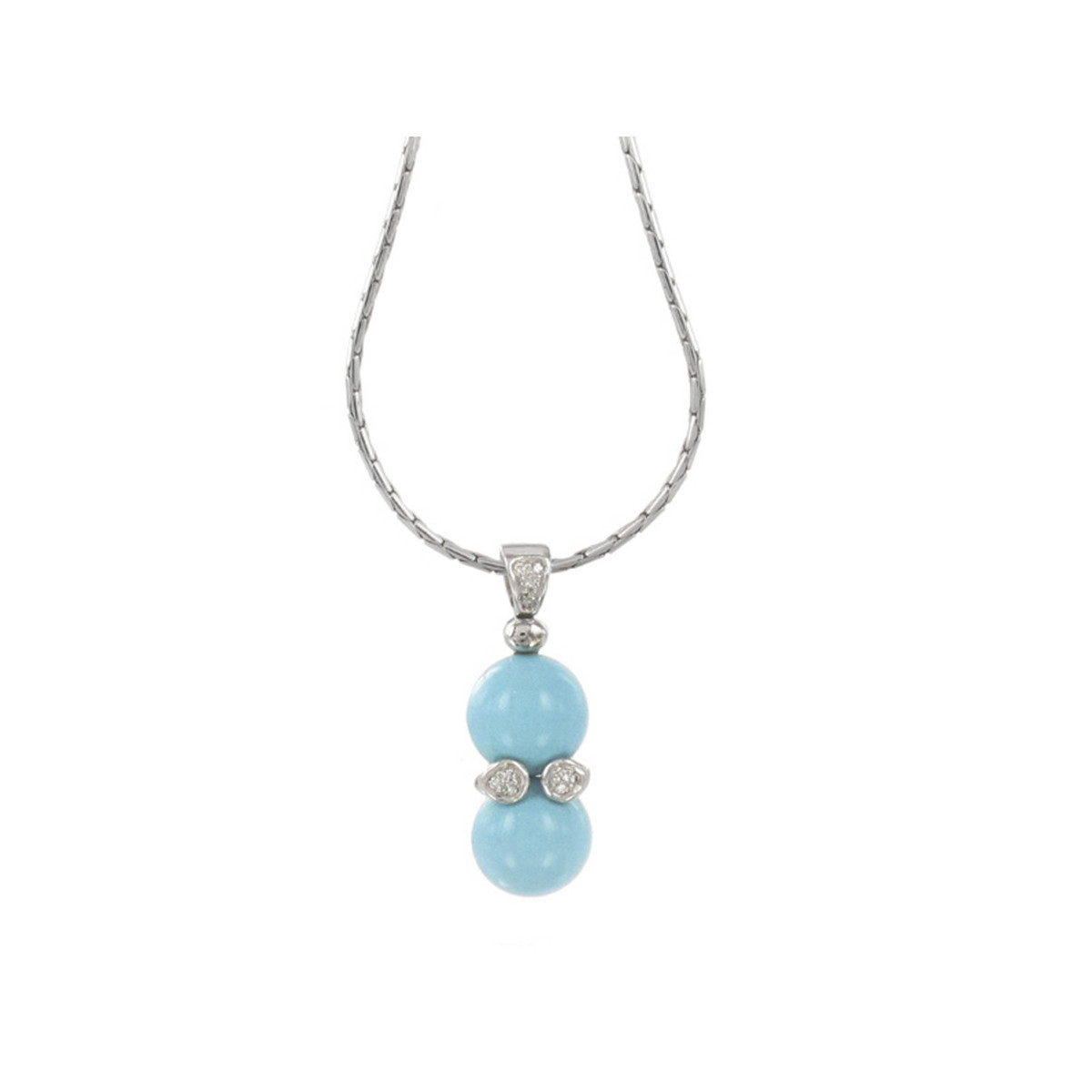 TURQUOISE PENDANT GOLD AND DIAMONDS