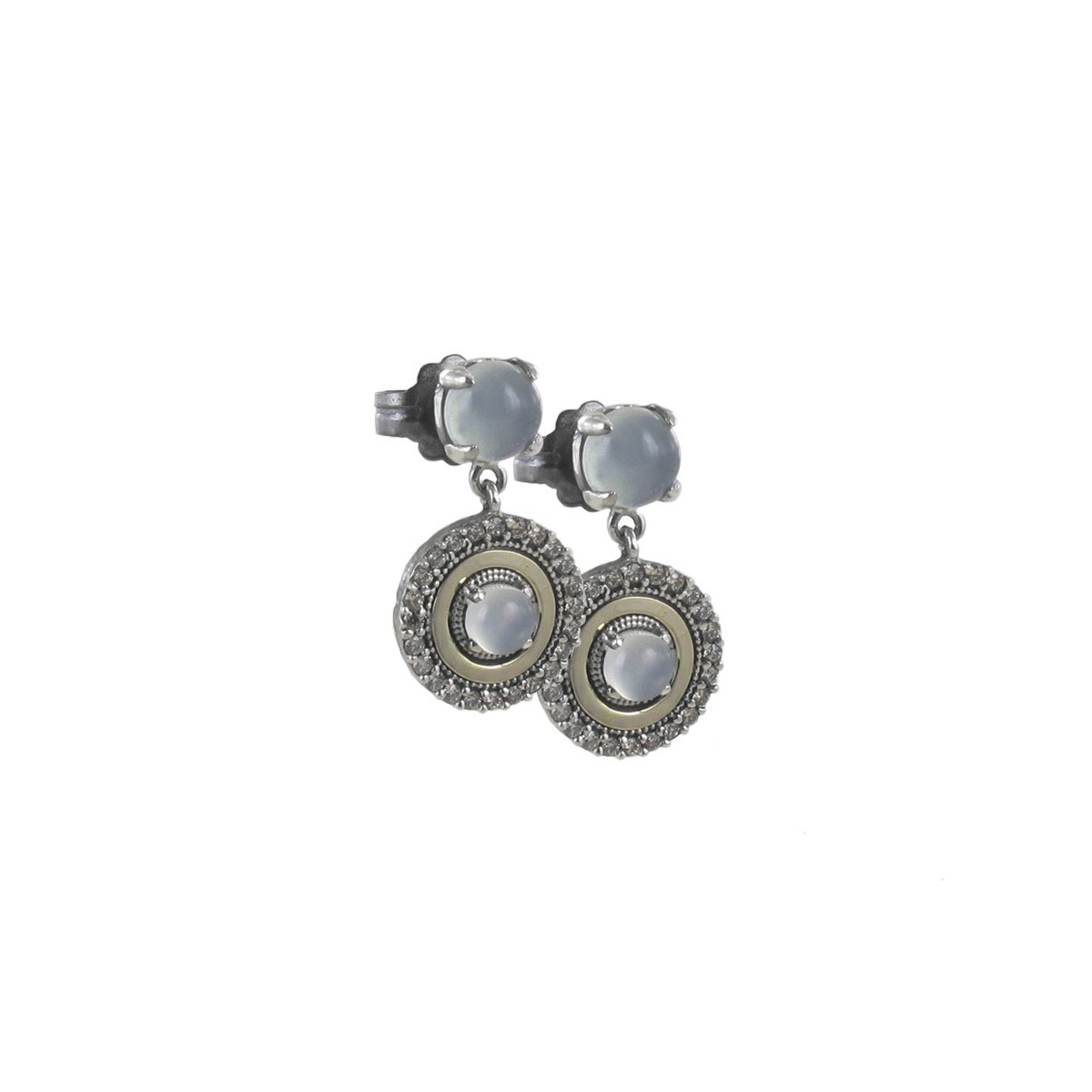 18 KT GOLD AND SILVER EARRINGS