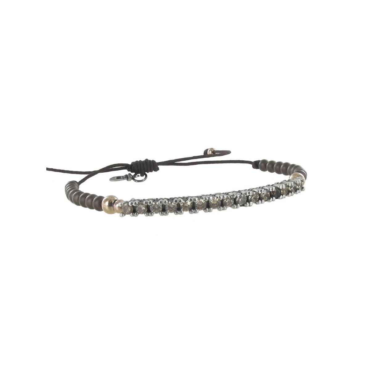 MACRAME AND SILVER BRACELET WITH CHAMPAGNE QUARTZ