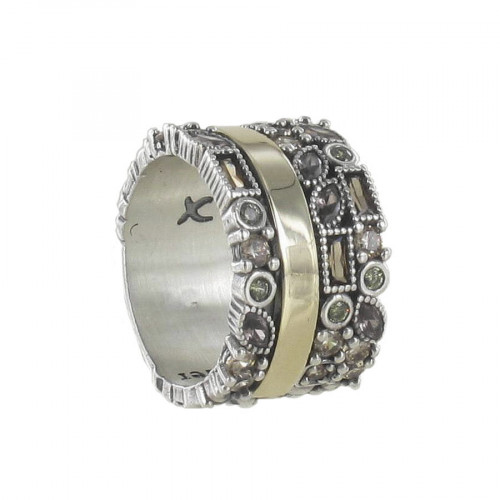 SILVER AND GOLD RING WITH SEMI-PRECIOUS STONES