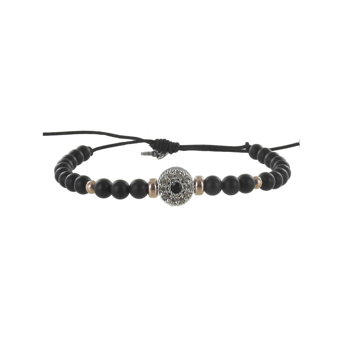 SILVER BRACELET WITH BLACK BALLS AND STONES