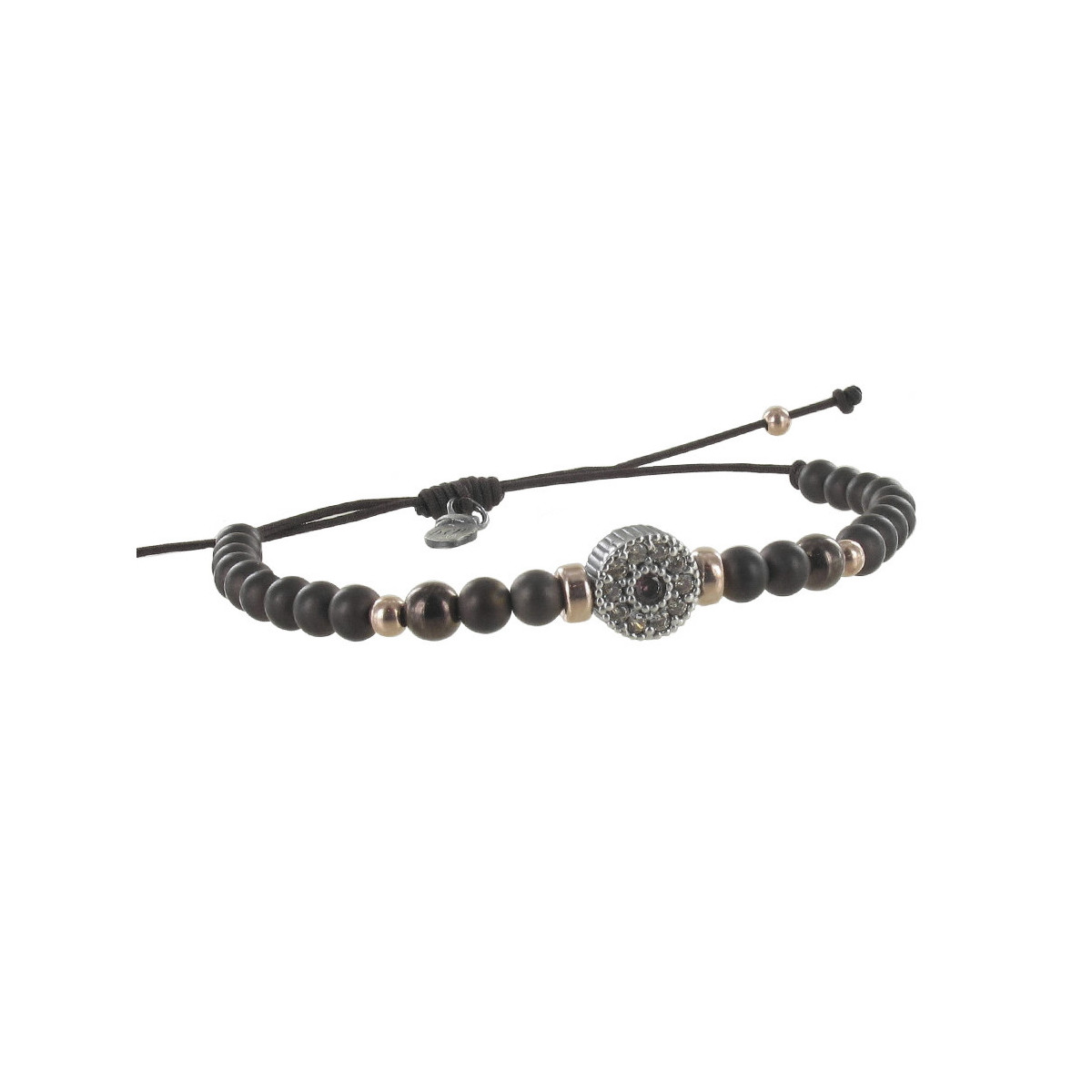 SILVER BALL AND PATTERN BRACELET WITH STONES