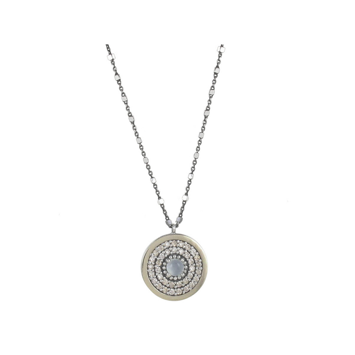 NECKLACE WITH SILVER AND GOLD PENDANT 1,6 CM