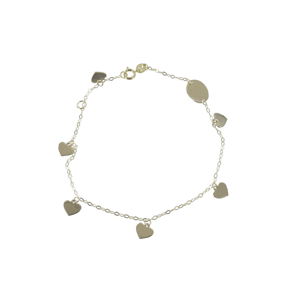 GOLD BRACELET WITH 5 HEARTS