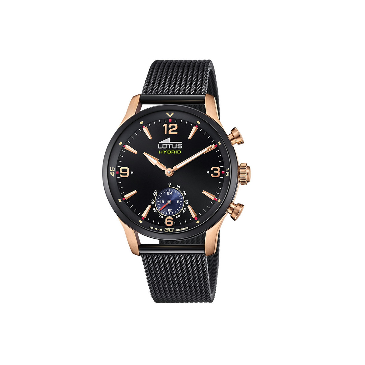 LOTUS HYBRID 43 MM BLACK MILANESE MESH