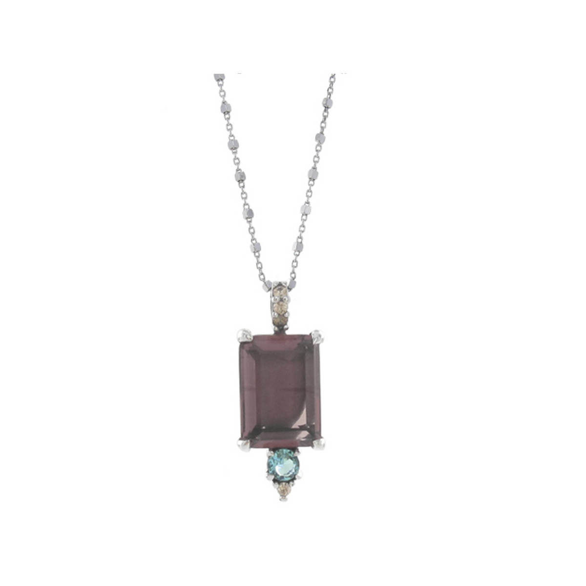 SILVER CHAIN WITH COLORED STONES PENDANT