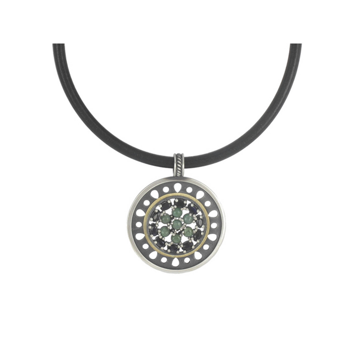 LEATHER SILVER GOLD NECKLACE