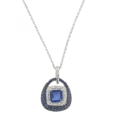 WHITE GOLD KYNITE, SAPPHIRE AND DIAMONDS NECKLACE