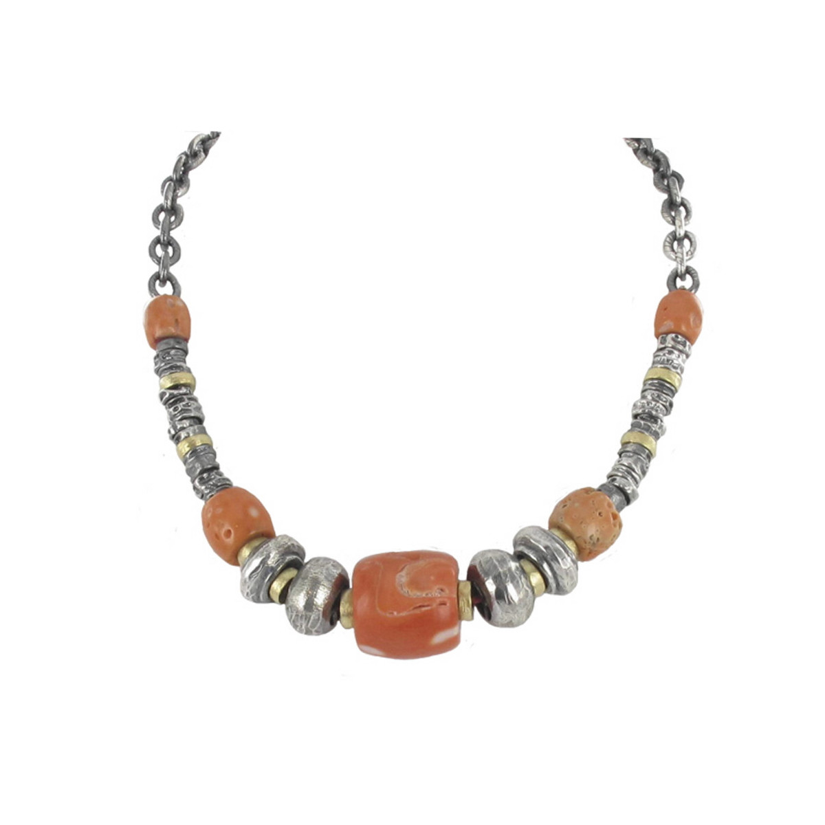 CORAL NECKLACE SILVER AND GOLD