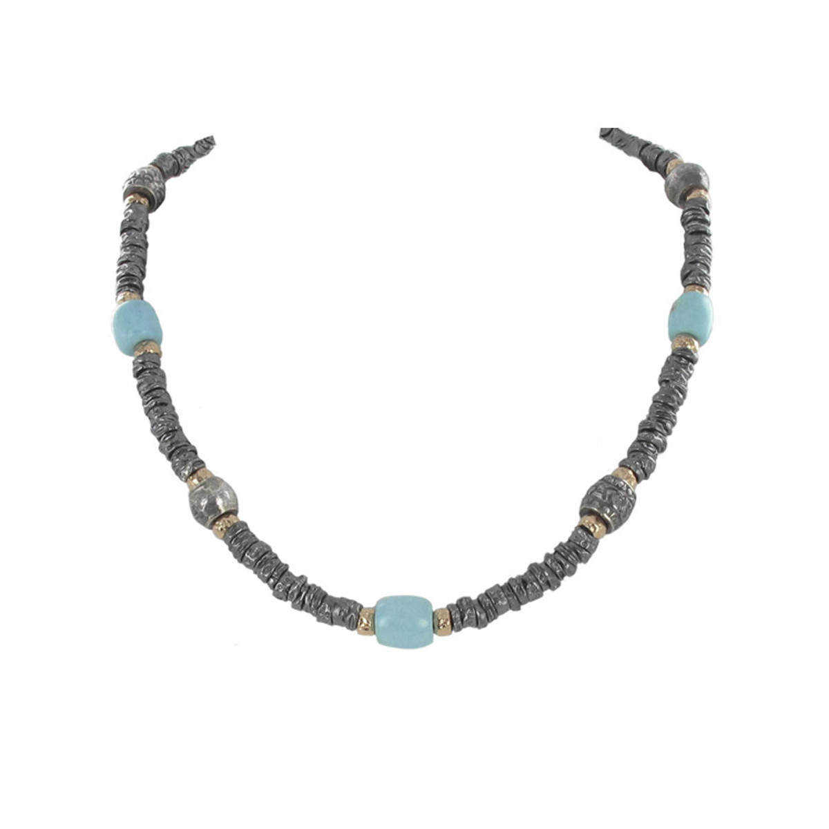 SILVER AND GOLD NECKLACE WITH TURQUOISE