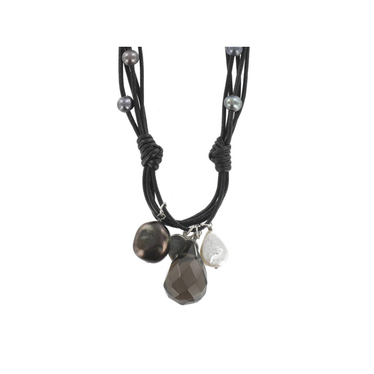 LEATHER NECKLACE WHIT PEARL AND SILVER