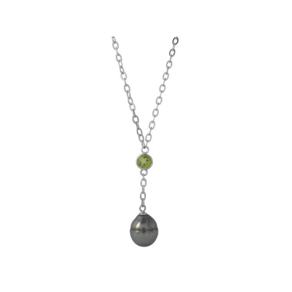 SILVER NECKLACE PERIDOT AND PEARL