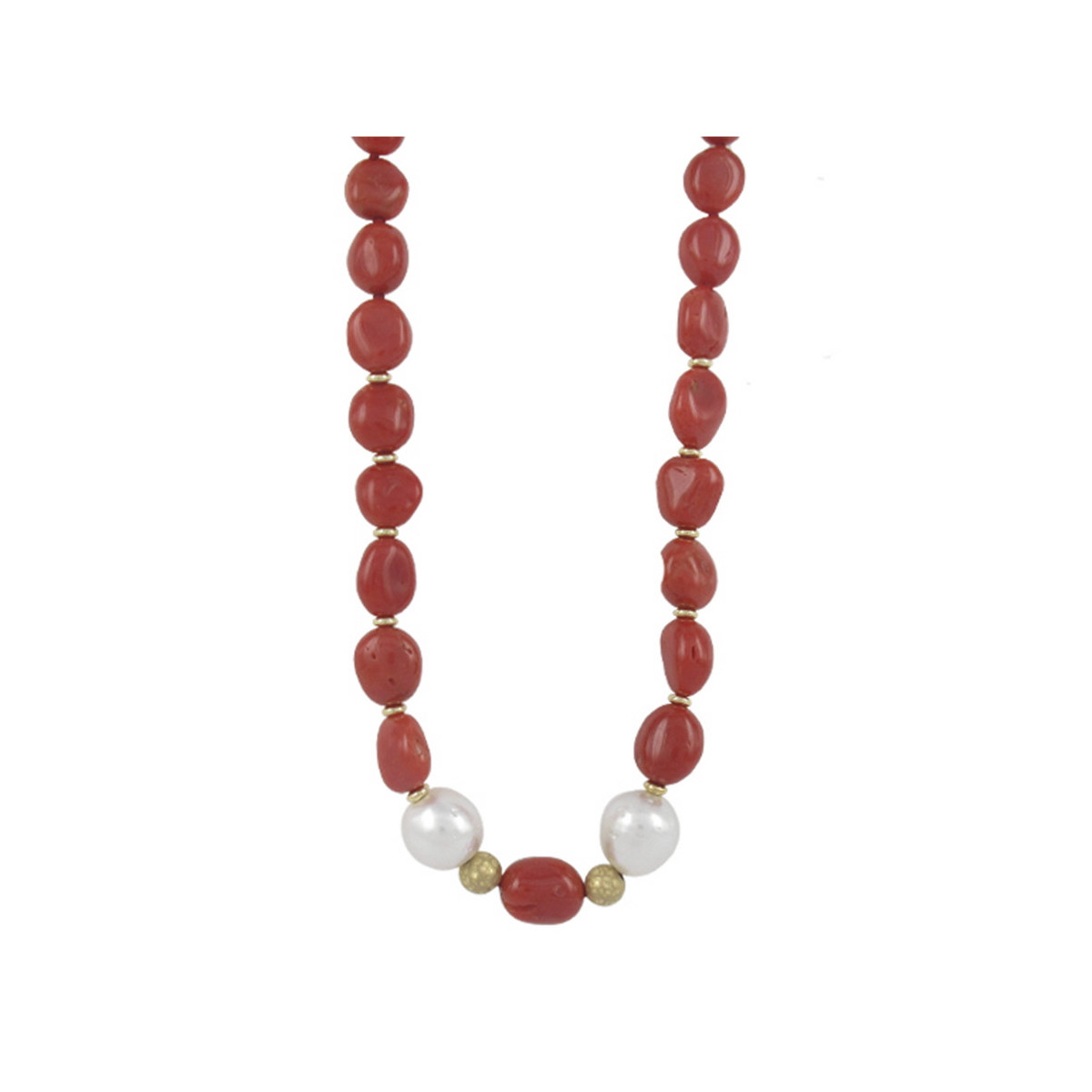 CORAL GOLD AND PEARLS NECKLACE