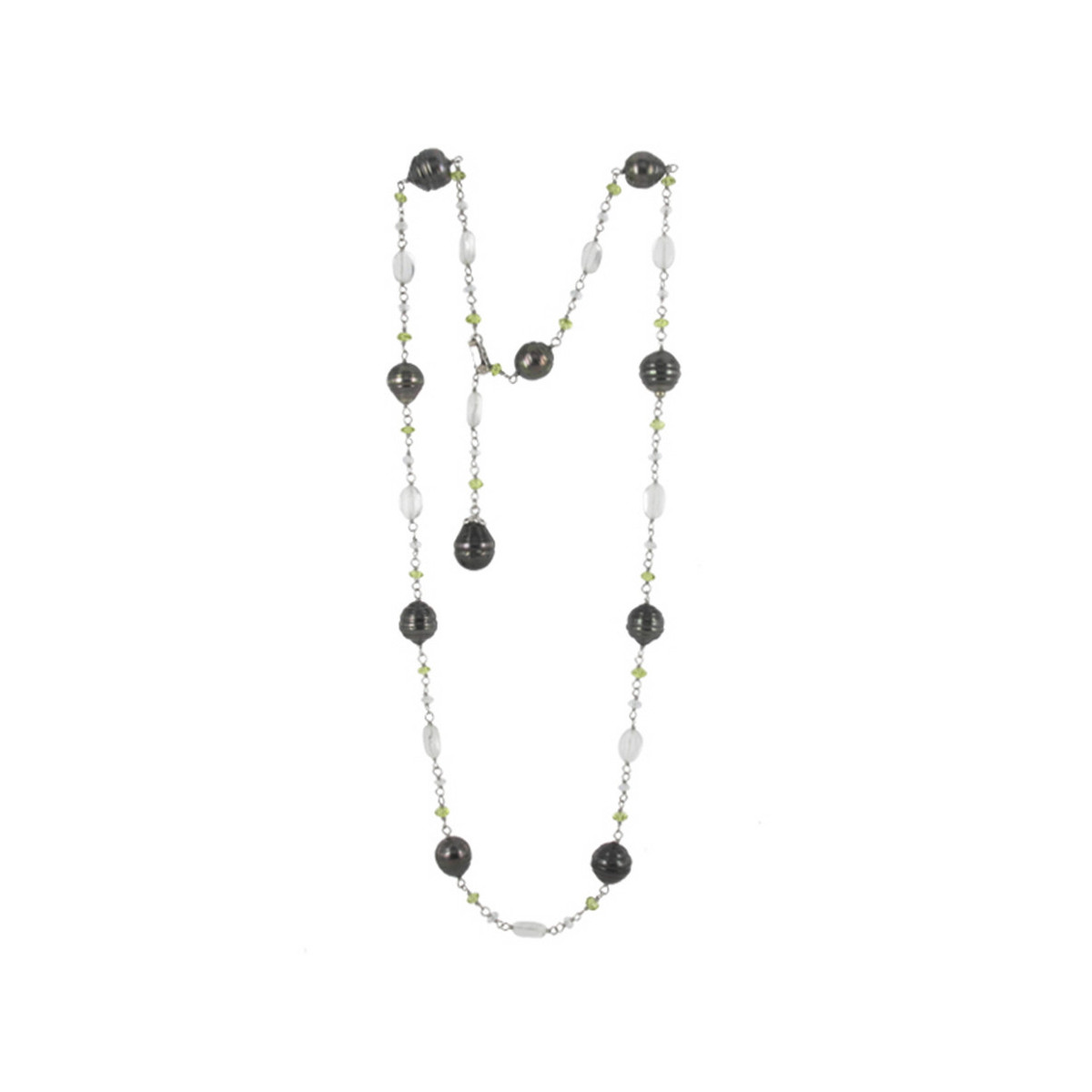 SILVER NECKLACE PEARLS AND NATURAL STONES