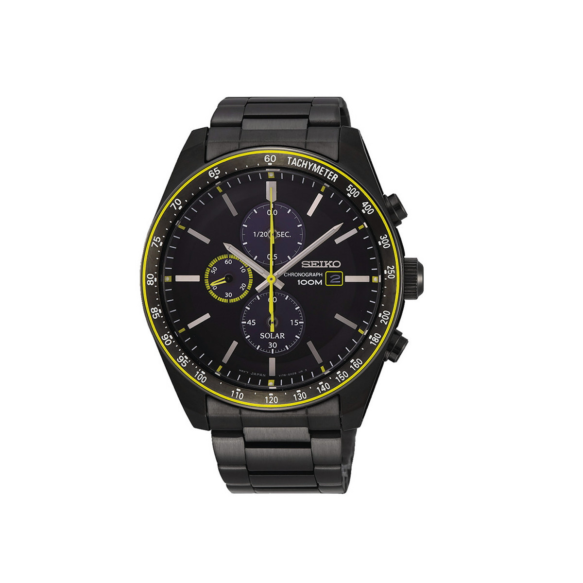 SEIKO SOLAR BLACK WITH A TOUCH OF YELLOW