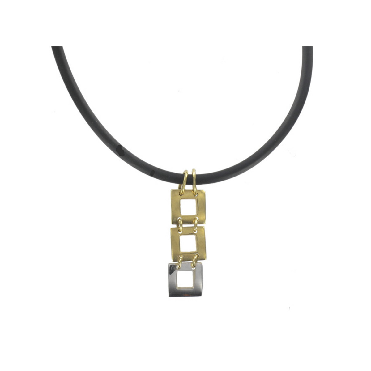 RUBBER AND GOLD NECKALCE