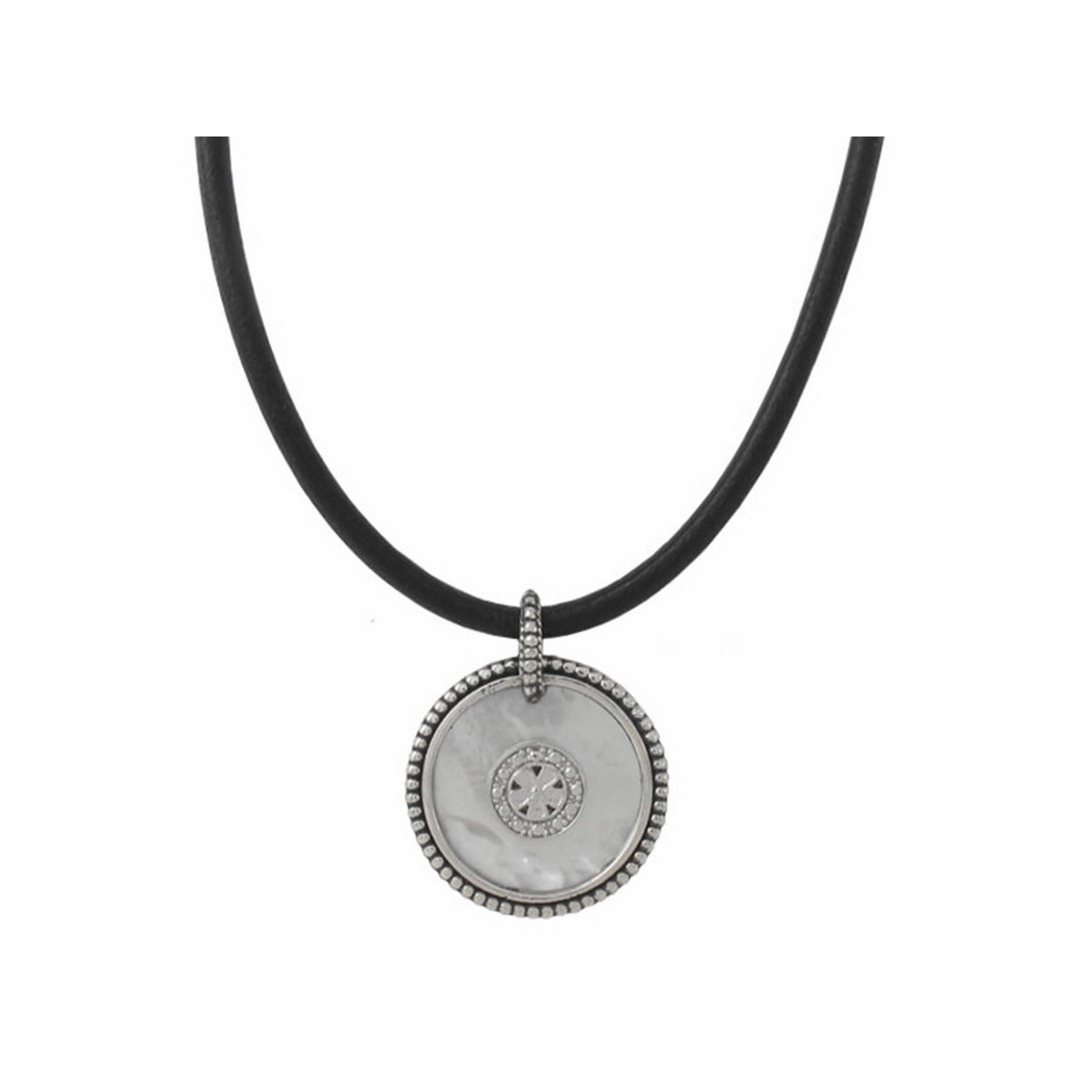 LEATHER SILVER AND MOTHER OF PEARL NECKLACE