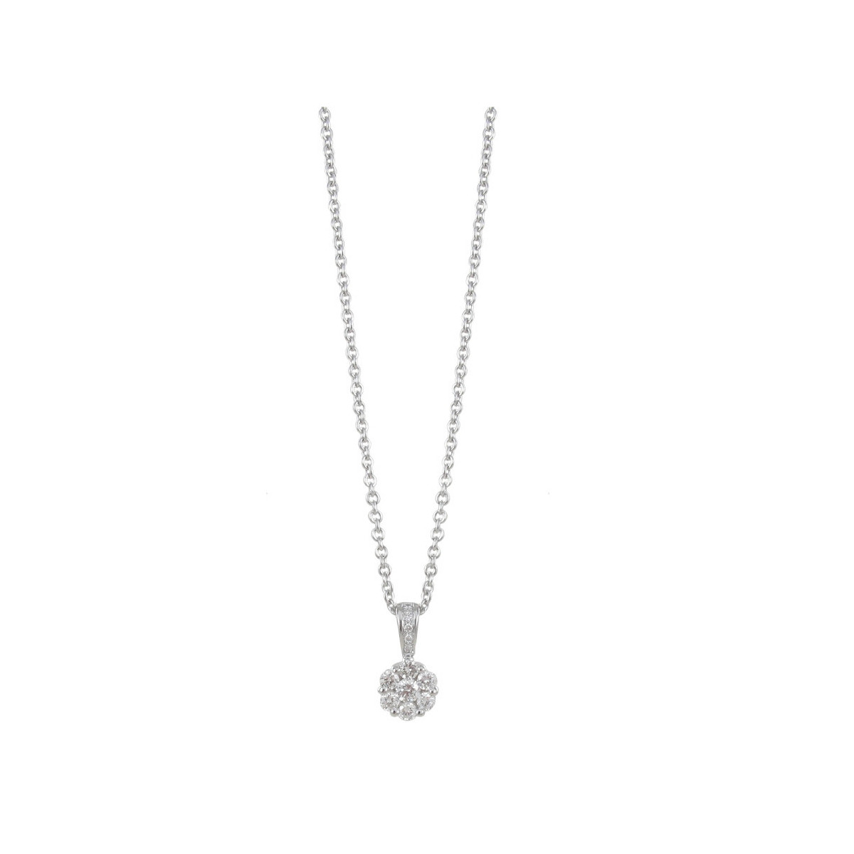 NECKLACE WHITE GOLD AND 7 DIAMONDS