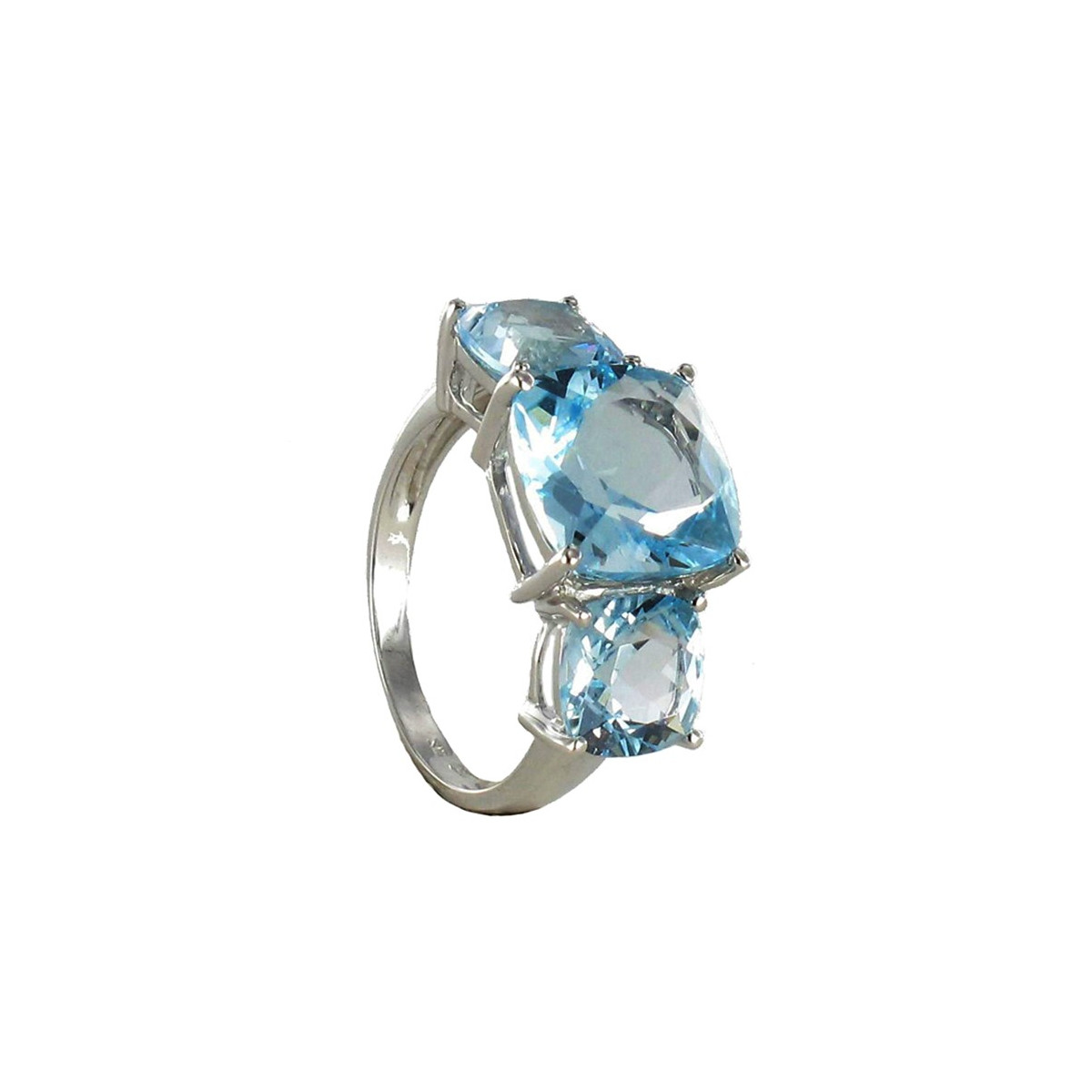 GOLD RING WITH 3 BLUE TOPAZ