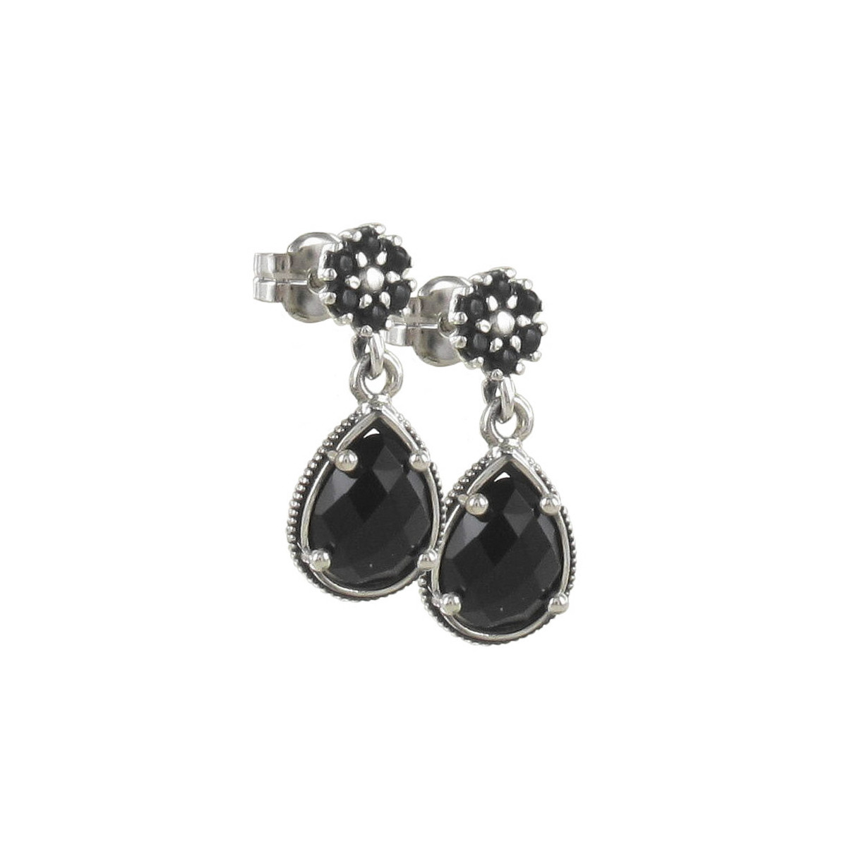 SILVER EARRINGS WITH BLACK STONES