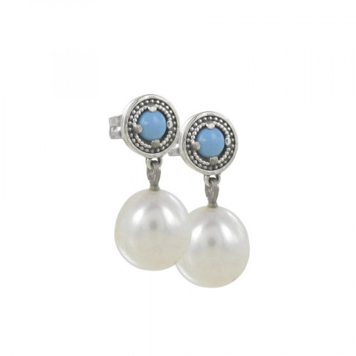 TURQUOISE AND CULTIVATED PEARL EARRINGS