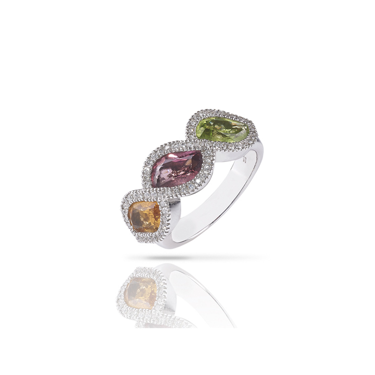 ANELL OR DIAMANTS I 3 PEDRES COLOR