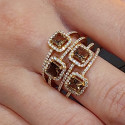 4 WIRE DESIGN RING WITH DIAMONDS